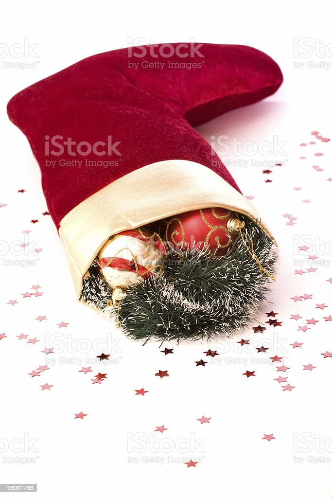 Christmas stockings  stuffed with cristmas red bubles royalty free stockfoto