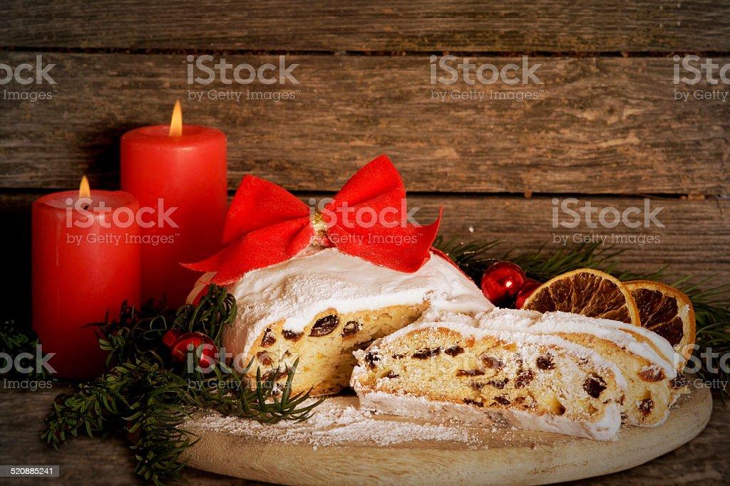 Christmas Stollen, Dresden Stollen stock photo