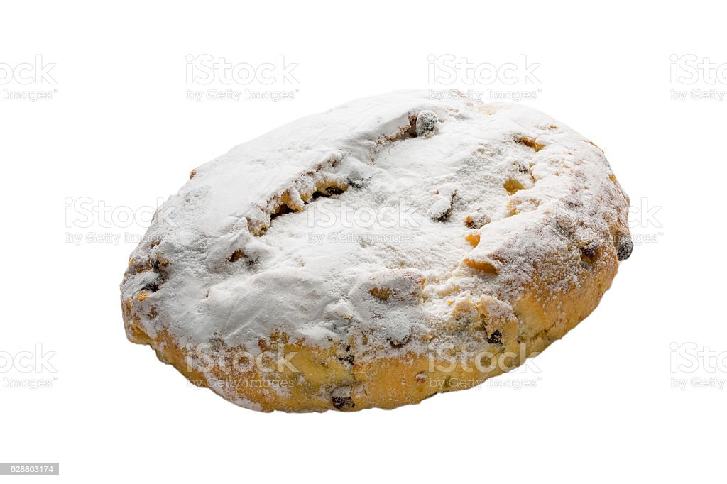 Christmas stollen isolated on white background, clipping path in stock photo