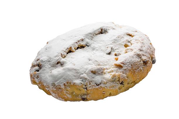 christmas stollen isolated on white background, clipping path in - apfel marzipan kuchen stock-fotos und bilder