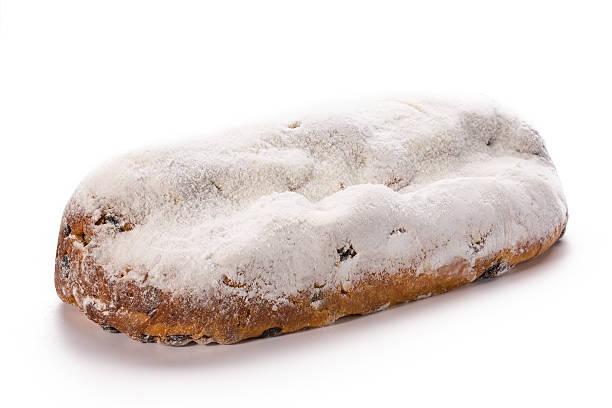 christmas stollen isolated on white background. - apfel marzipan kuchen stock-fotos und bilder
