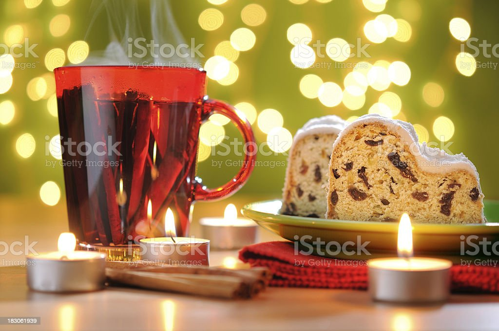 Christmas Stollen With Cinnamon Tea royalty-free stock photo