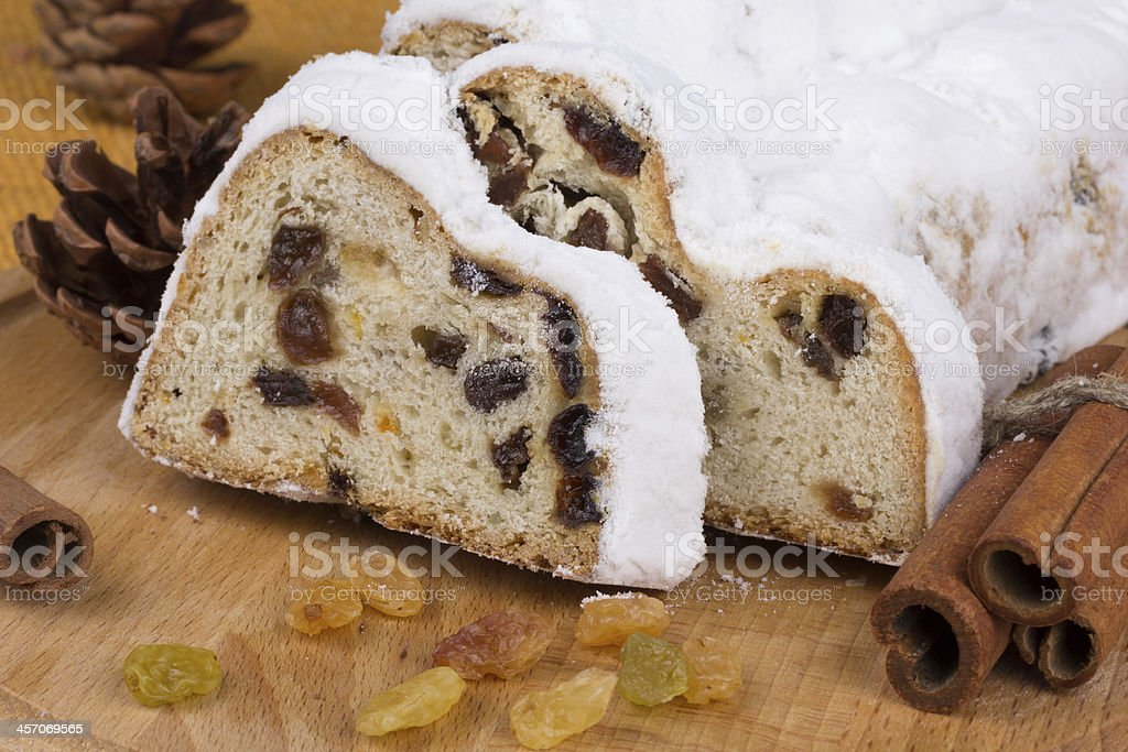 Christmas stollen with raisins and spices royalty-free stock photo