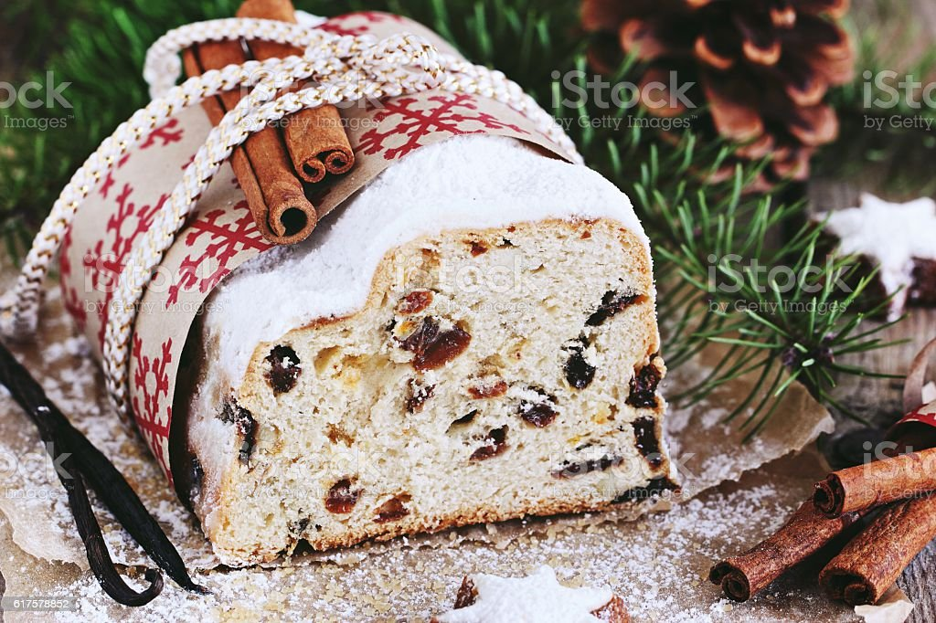 Christmas stollen.Traditional German festive dessert. stock photo