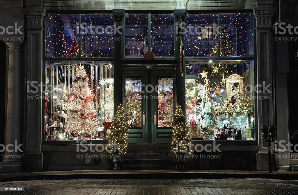 Christmas store window display stock photo