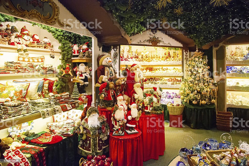 Christmas store with decorations Decorated for christmas store Art Stock Photo