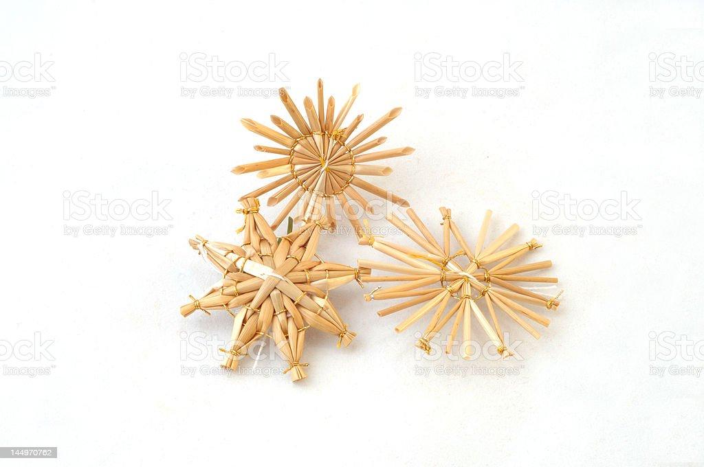 christmas straw stars stock photo