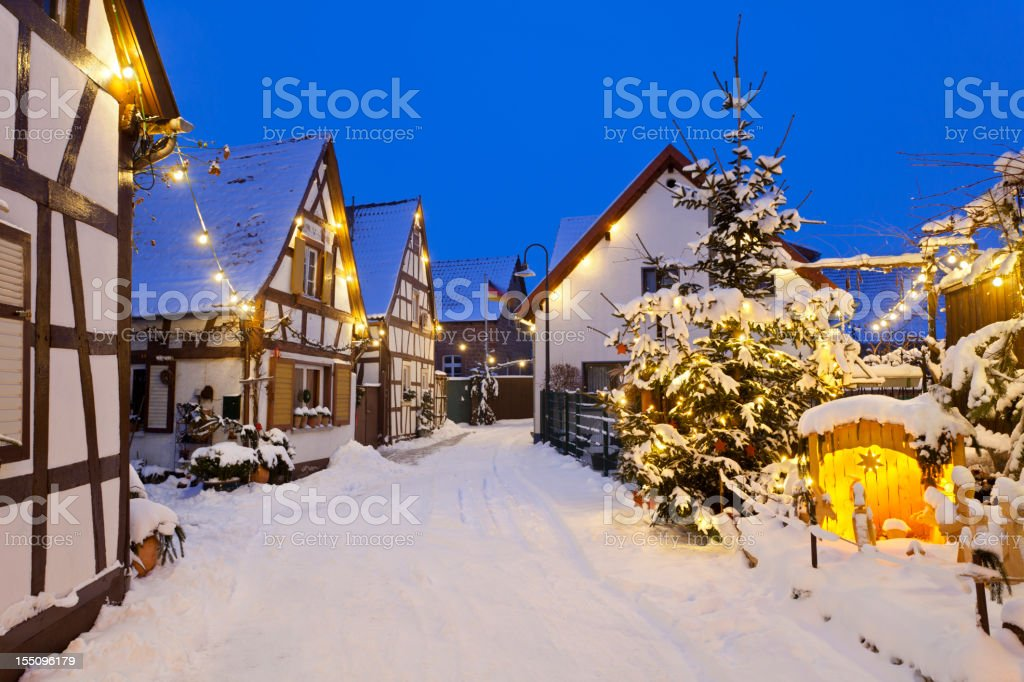 Christmas Street At Night stock photo