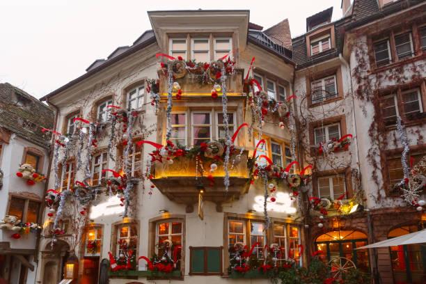 Christmas street in Strasbourg, Alsace, France stock photo