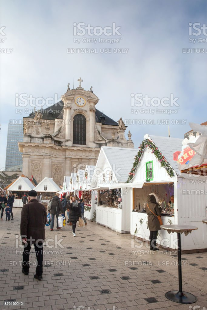 Christmas street market at place Charles III stock photo