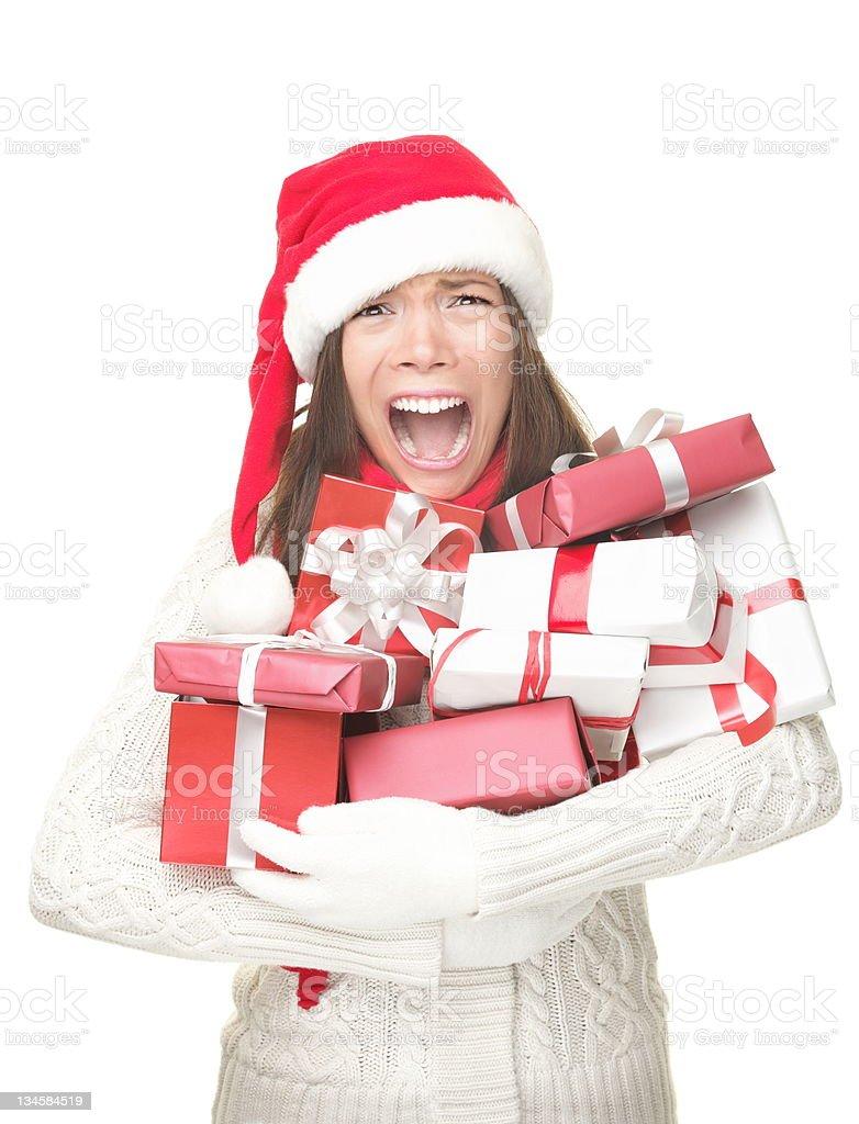 Christmas stress shopping woman royalty-free stock photo