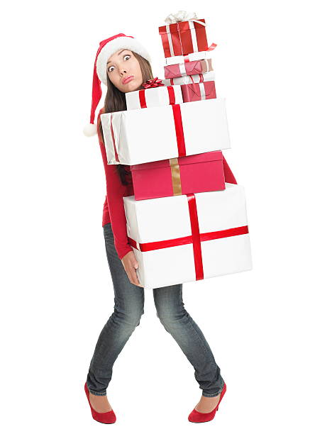 weihnachten stress frau müde mit viele geschenke - druck jeans stock-fotos und bilder
