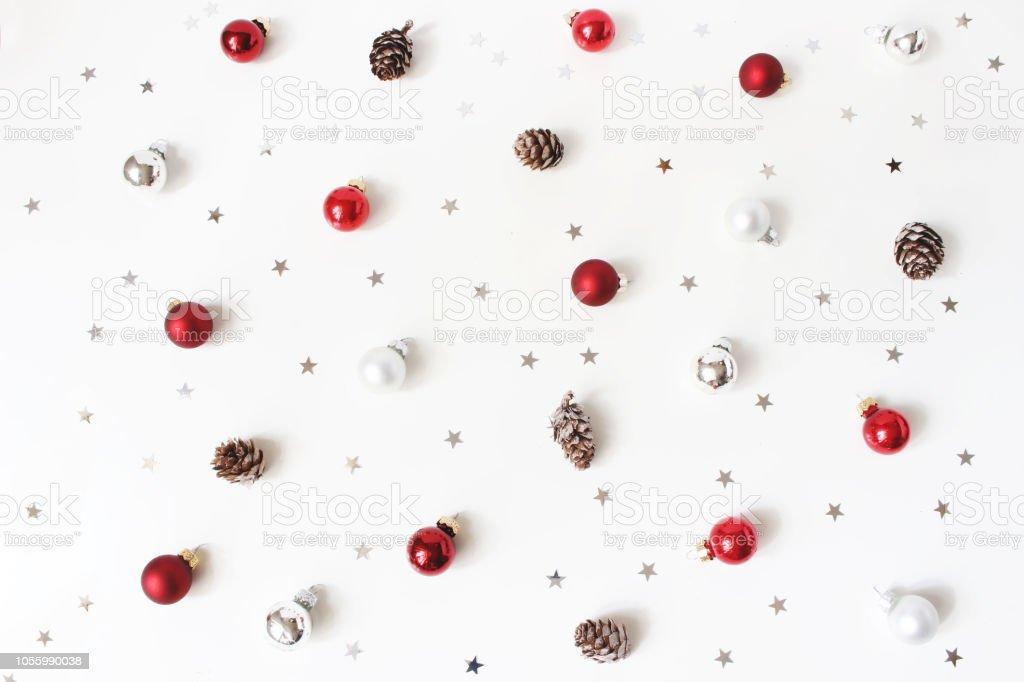 Rote Christbaumkugeln Glas.Weihnachten Gestylt Zusammensetzung Rotes Glas