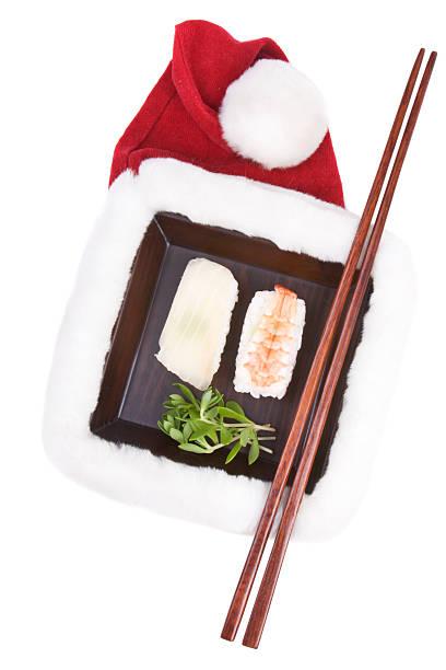 weihnachts-sushi - schnelles weihnachtsessen stock-fotos und bilder