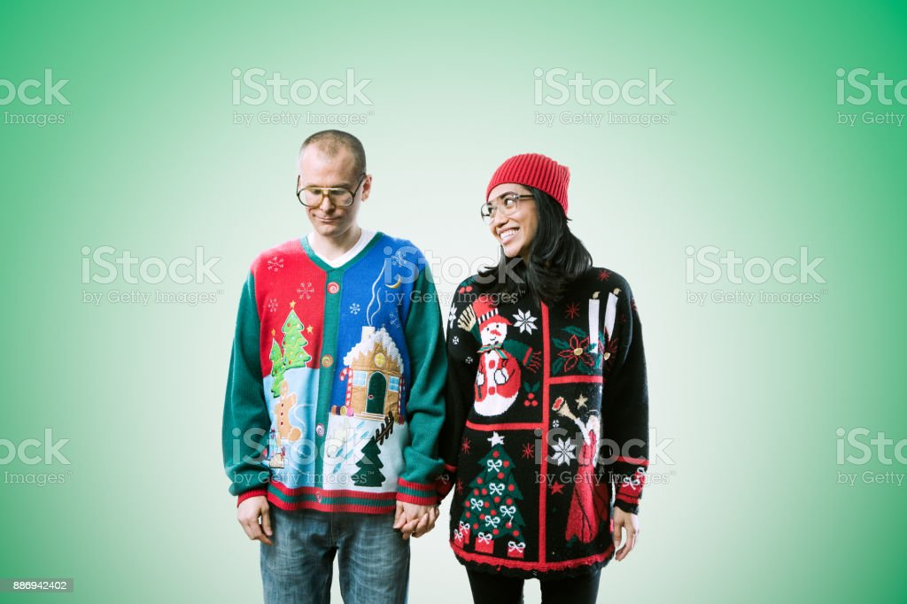 Christmas Sweater Couple stock photo