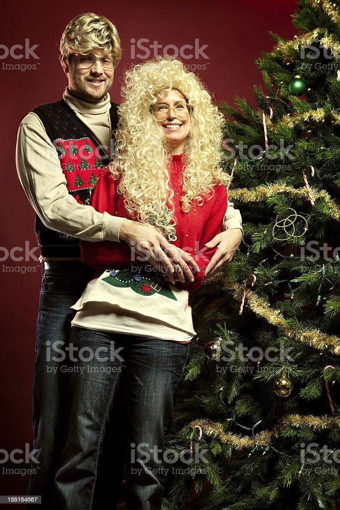 Christmas Sweater Eighties Couple stock photo
