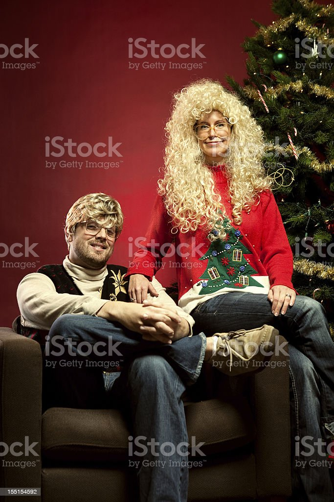 Christmas Sweater Eighties Couple stock photo