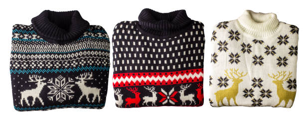 christmas sweater isolated image on white background. - ugly sweater stock pictures, royalty-free photos & images