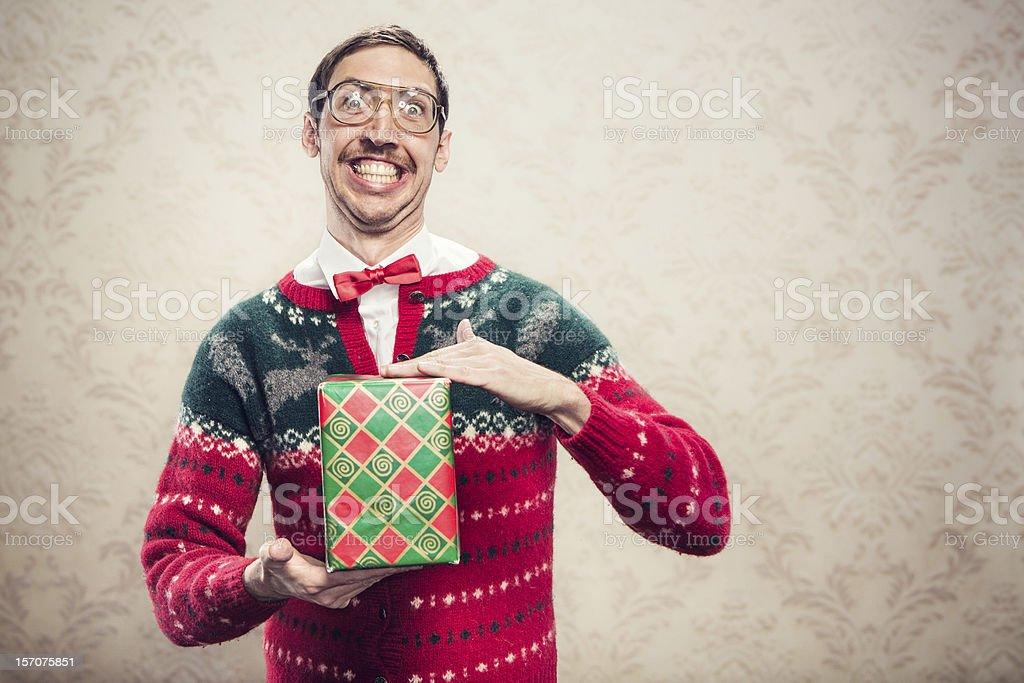 Christmas Sweater Nerd royalty-free stock photo