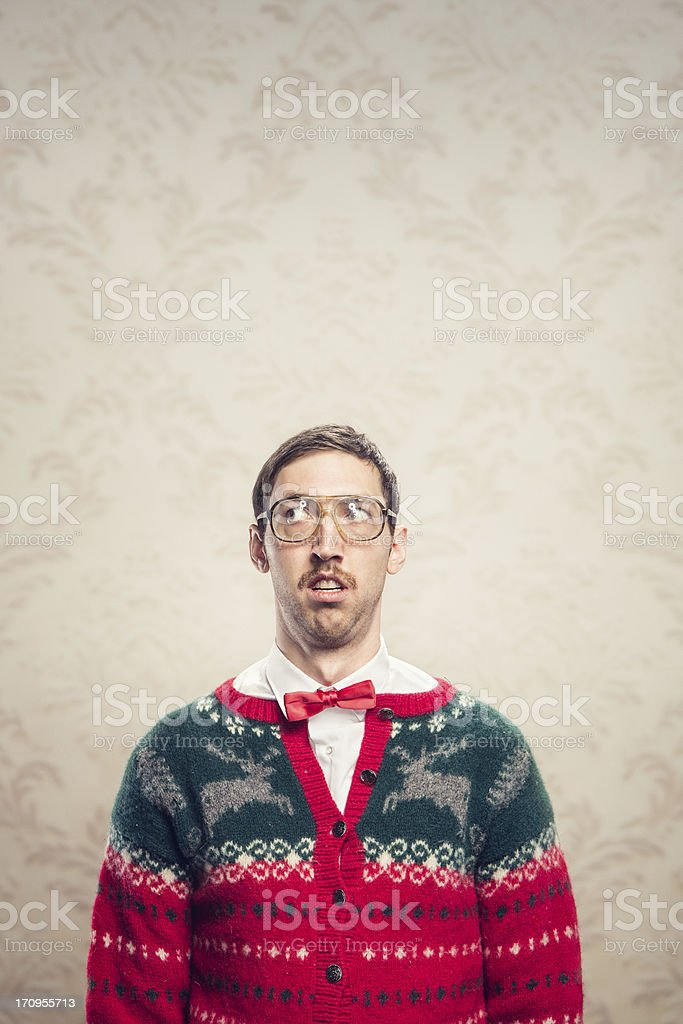 Christmas Sweater Nerd royalty-free stock photo