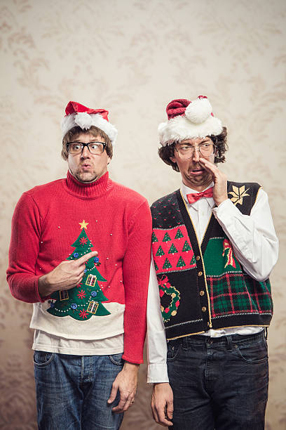 christmas sweater nerds - ugly sweater stock photos and pictures