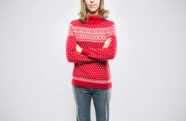 christmas sweater woman - ugly sweater stock photos and pictures