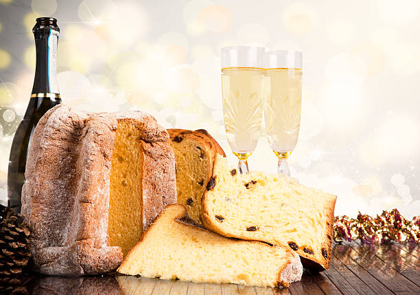 christmas sweets and wines - panettone foto e immagini stock