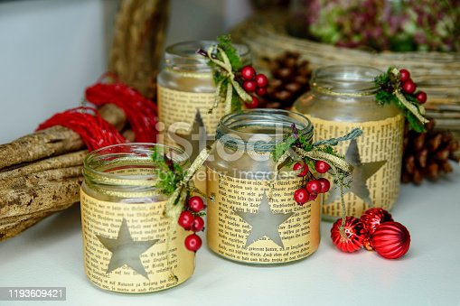 Close up of a Christmas candle and decorations