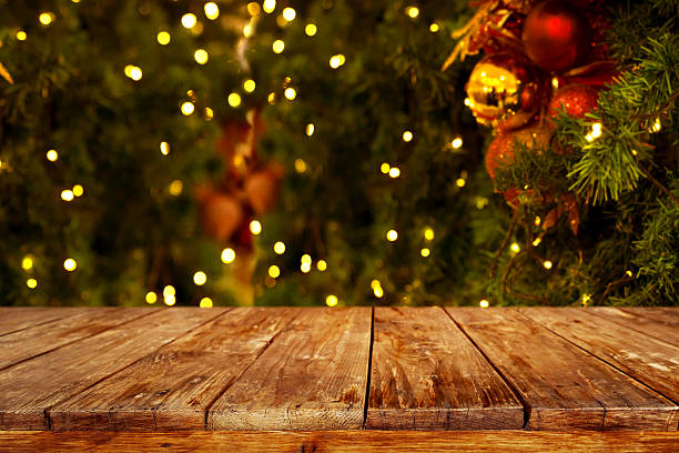 christmas table background - vintage ornaments stock photos and pictures