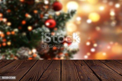 istock Christmas table background 855843388