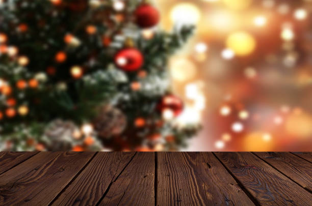 christmas table background - christmas stock photos and pictures