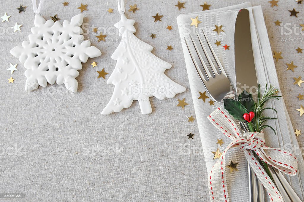 Christmas table place setting, holidays copy space background stock photo