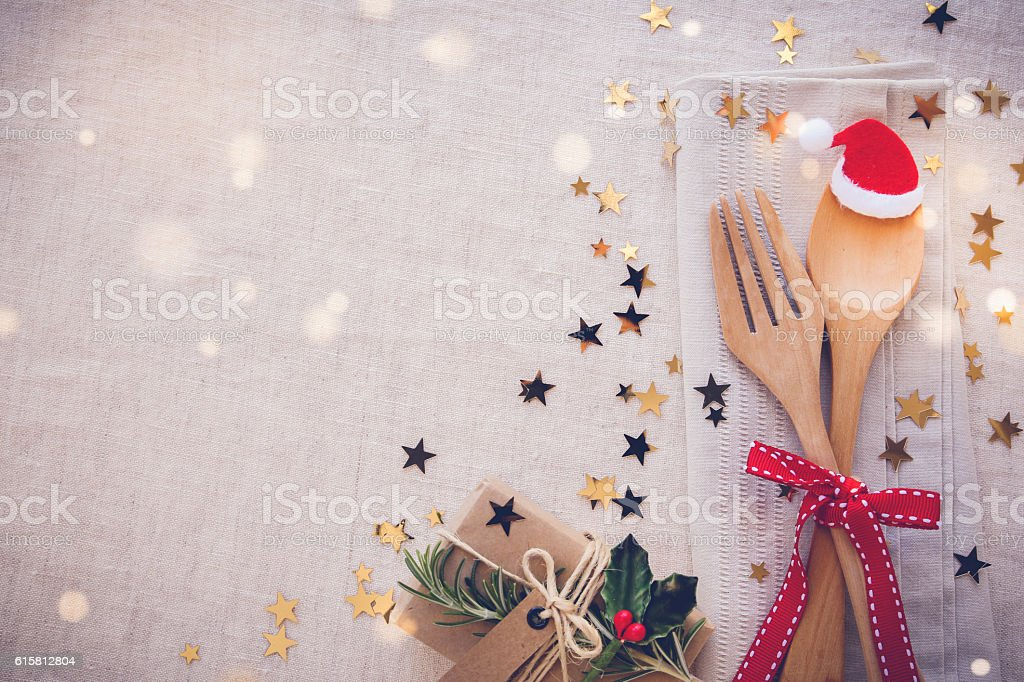 Christmas table place setting, holidays copy space fairy light t stock photo