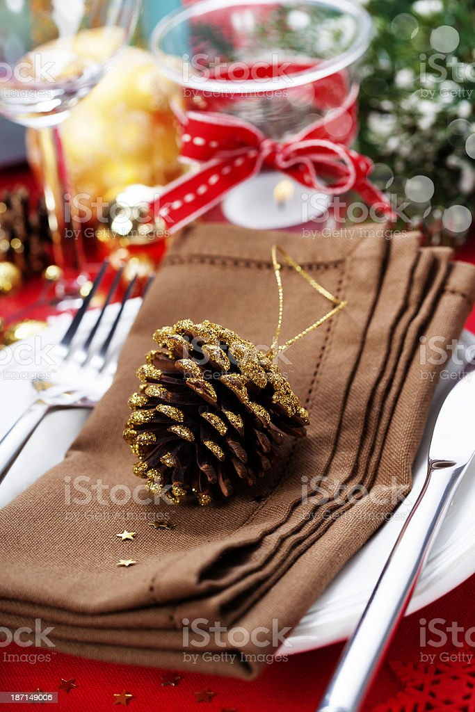 Christmas table place setting royalty-free stock photo