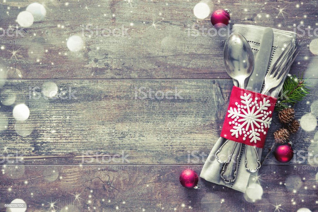 Christmas table place setting stock photo