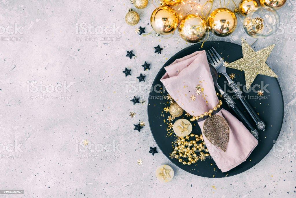 Configuração de mesa de Natal - foto de acervo