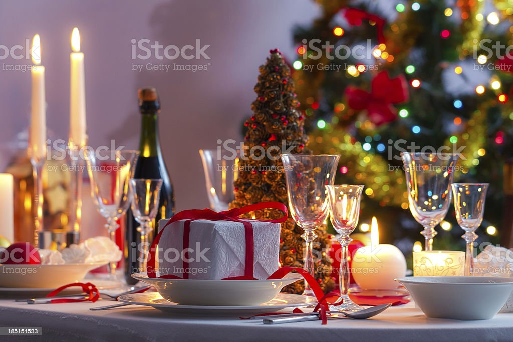Christmas table setting before dinner royalty-free stock photo