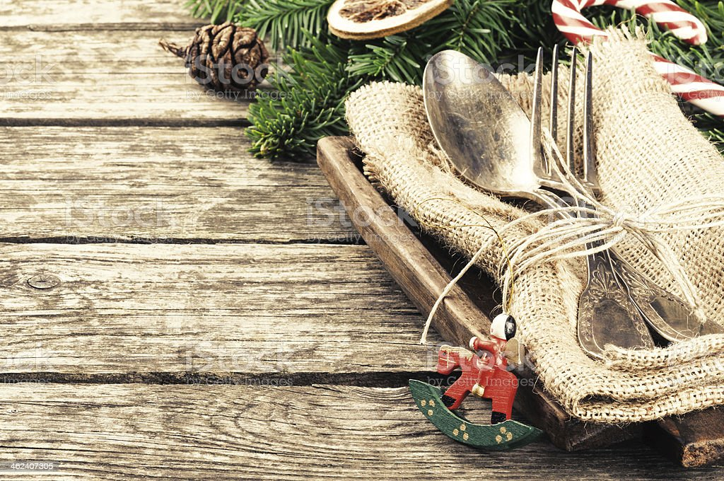 Christmas table setting in retro style stock photo