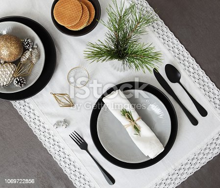 Overhead view of Christmas place setting