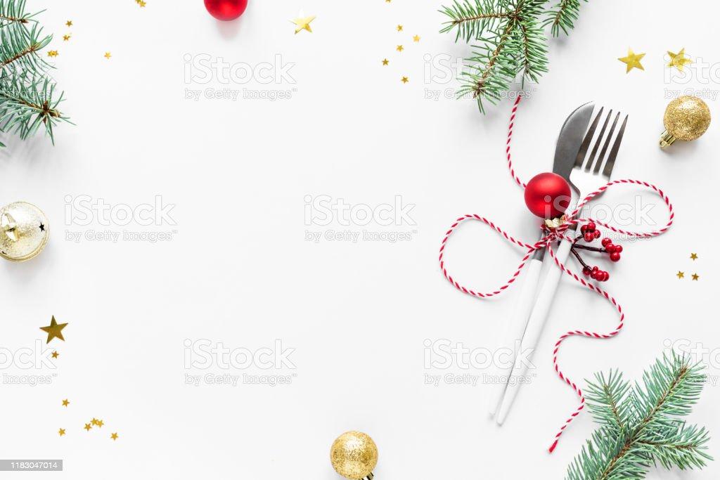 Christmas Table Setting - Foto stock royalty-free di Abete