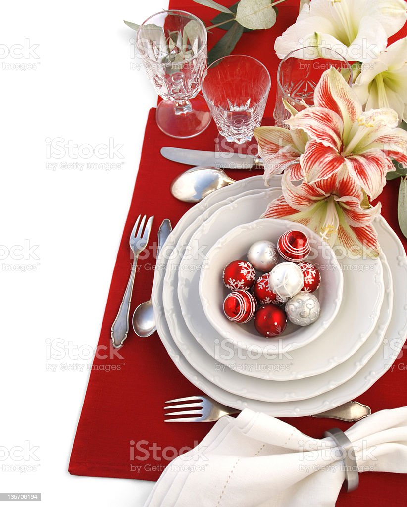 Christmas table setting royalty-free stock photo