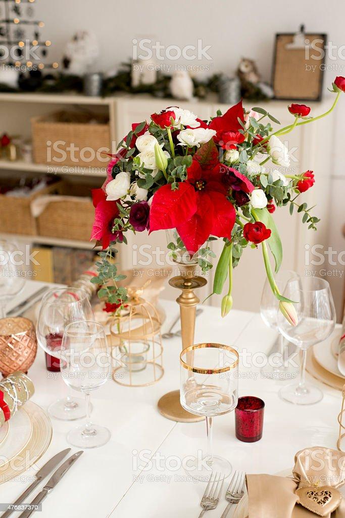 Christmas table setting stock photo