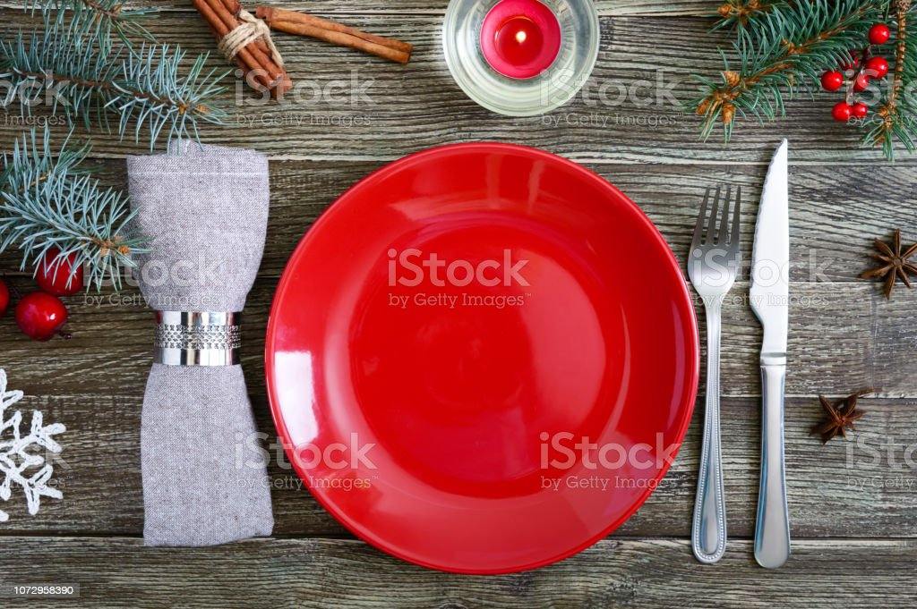 Amazing Christmas Table Setting Red Plate Napkin Fork Knife Branch Download Free Architecture Designs Grimeyleaguecom