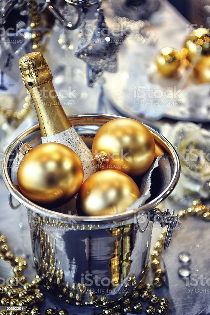 Christmas table setting with champagne stock photo