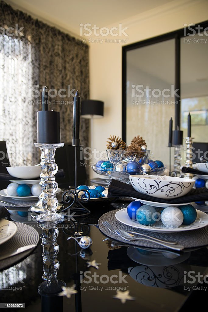 christmas table setting with white blue silver and black colors royalty-free stock & Christmas Table Setting With White Blue Silver And Black Colors ...