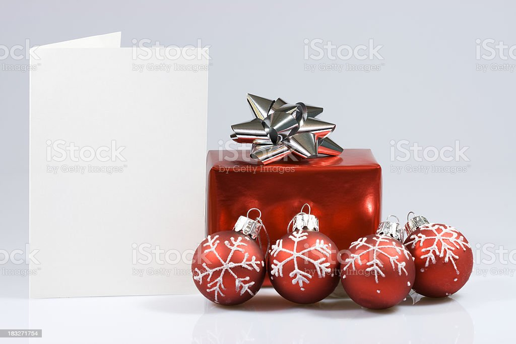 Christmas table with blank card royalty-free stock photo