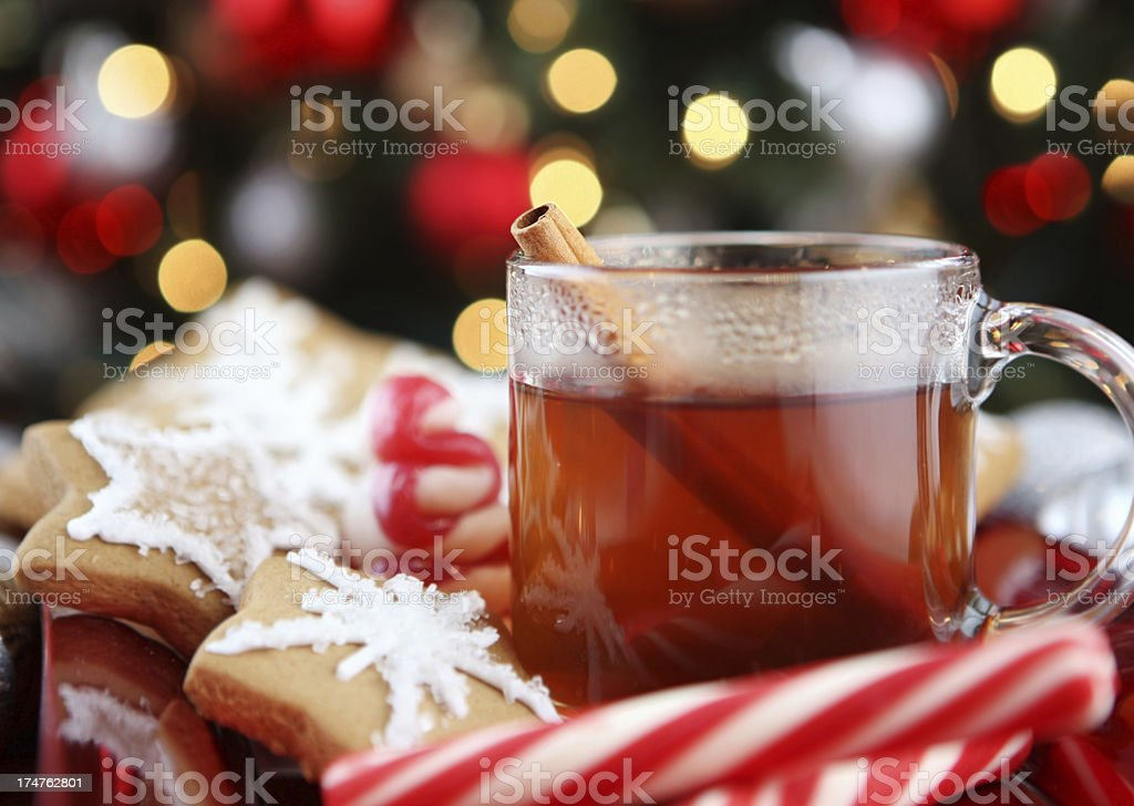 Christmas table with cookies and warm tea stock photo