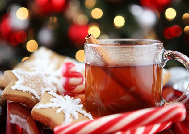 weihnachten-table - apfelweinkuchen stock-fotos und bilder