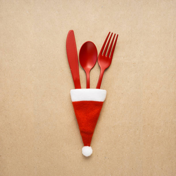 christmas tableware. - christmas background стоковые фото и изображения