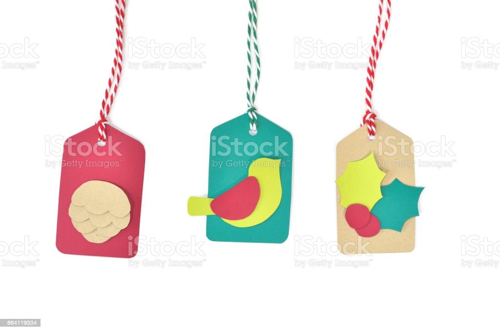 Christmas tag paper cut on white background royalty-free stock photo